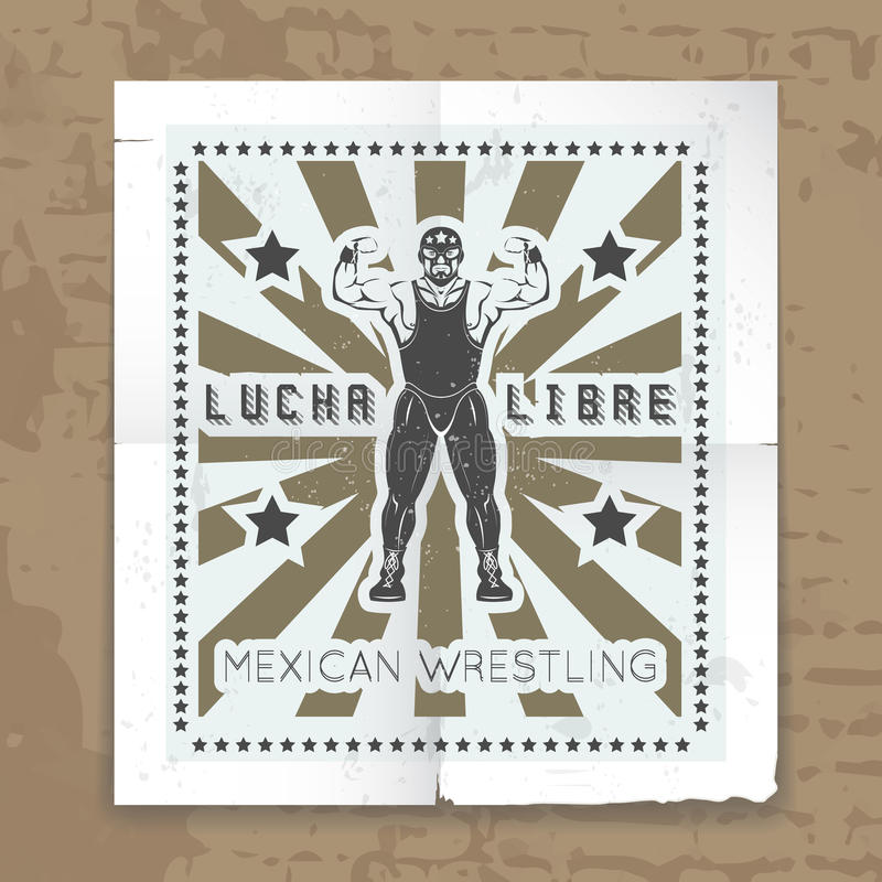 Mexican wrestling mask vector poster. Sportsman and athlete in leotard, vintage man strong illustration royalty free illustration