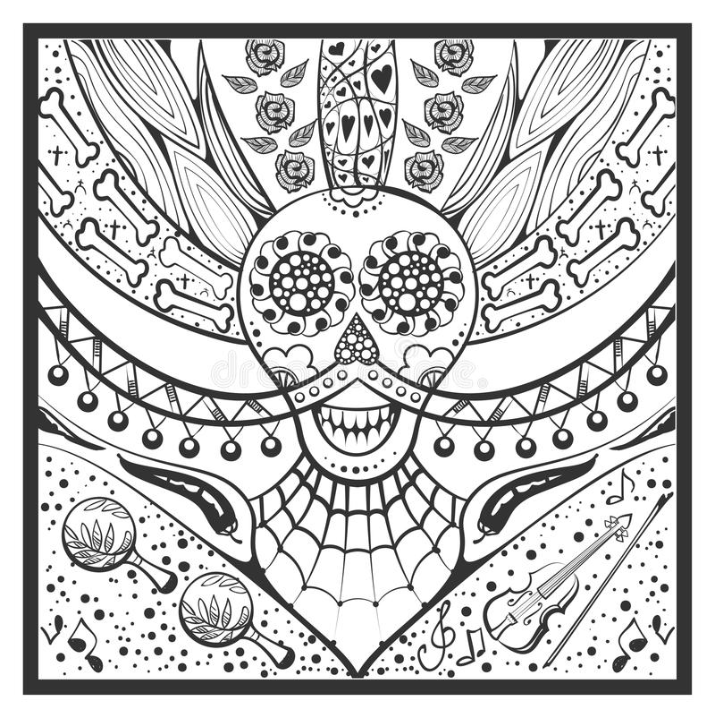 Mexican zentangle Day of Dead Dia de Muertos vector illustration
