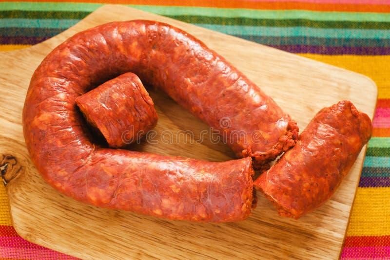 Mexicana Longaniza, παραδοσιακό λουκάνικο χοιρινού κρέατος στο Μεξικό, μεξικάνικα τρόφιμα στοκ φωτογραφίες με δικαίωμα ελεύθερης χρήσης