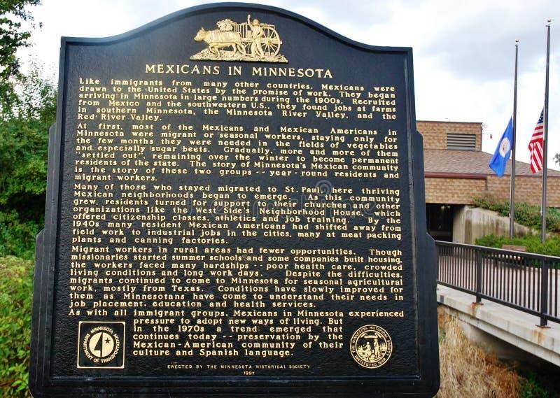 Mexicanen in de historische teller van Minnesota stock afbeelding
