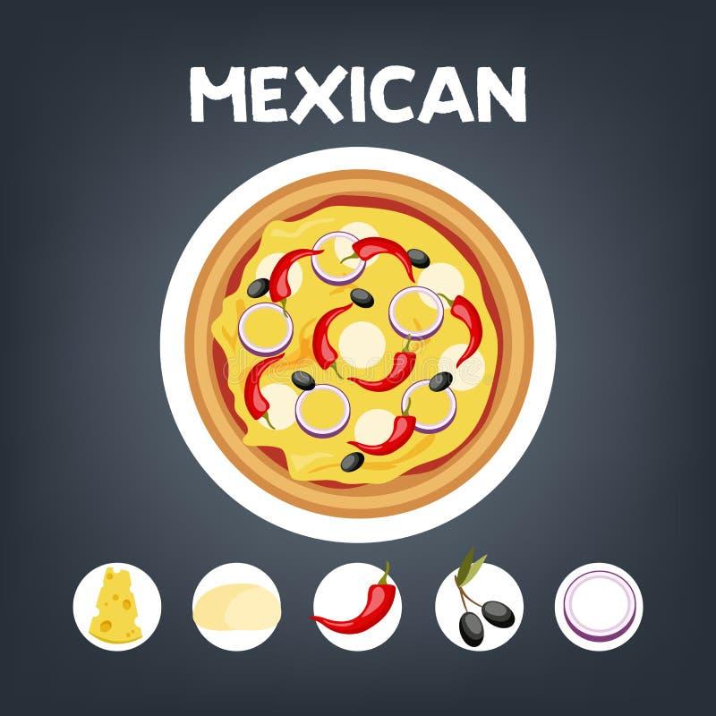 Mexicano de la pizza sin la carne Comida vegetariana italiana ilustración del vector