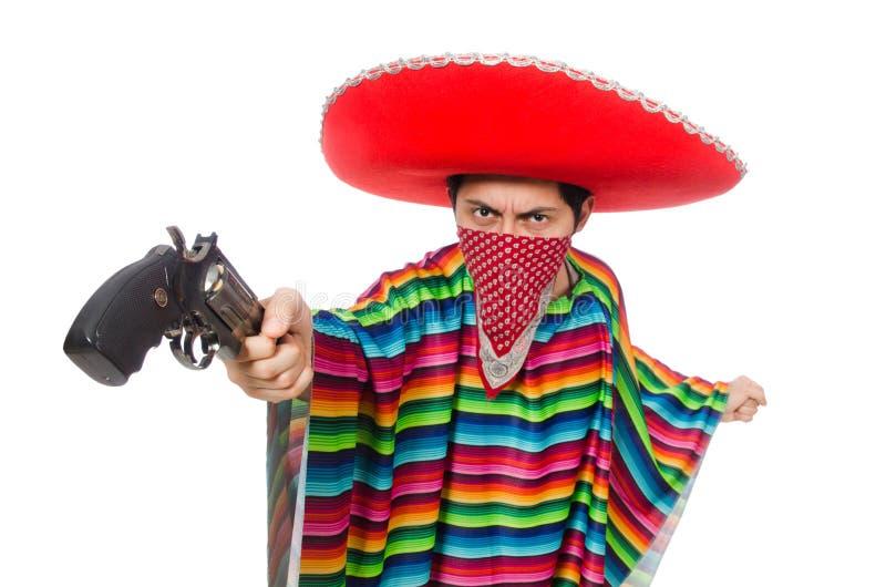 Mexicano divertido con el arma imagen de archivo