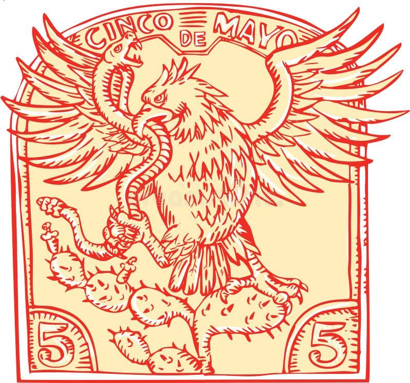 Mexicano Eagle Devouring Snake Etching ilustração stock