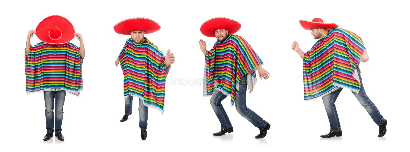 Mexicano engra?ado isolado no branco foto de stock