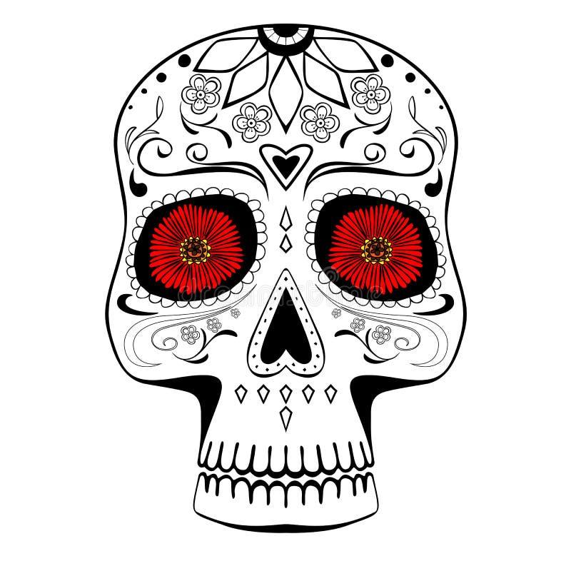 Mexicano estilizado tirado mão Sugar Skull ilustração stock