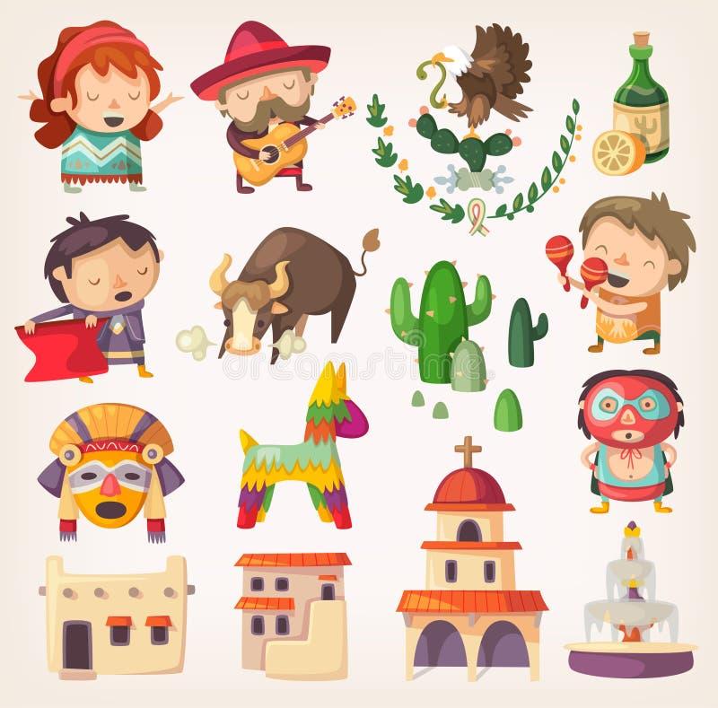 Mexicano fijado con los elementos y los caracteres locales ilustración del vector
