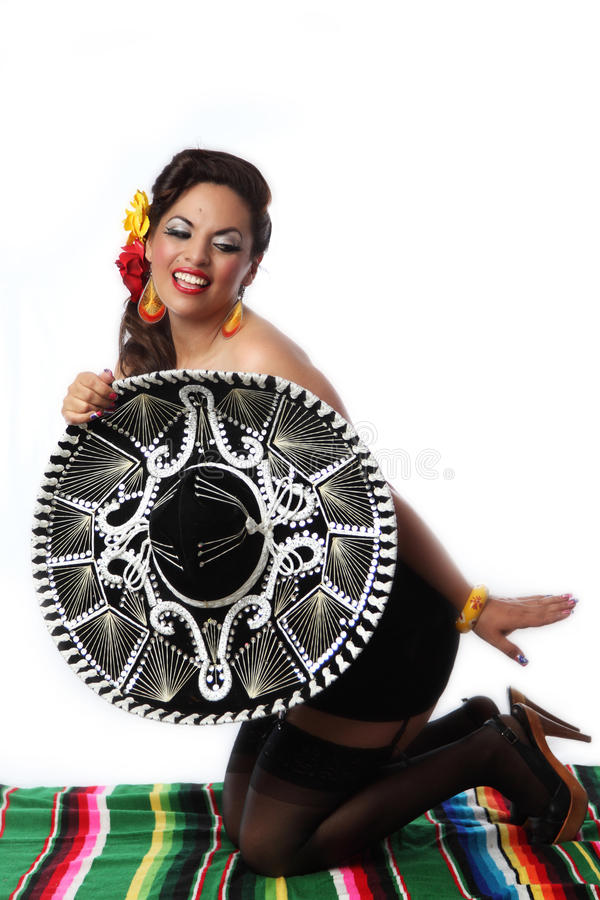 Mexicano Flirty Pin Up Girl imagens de stock