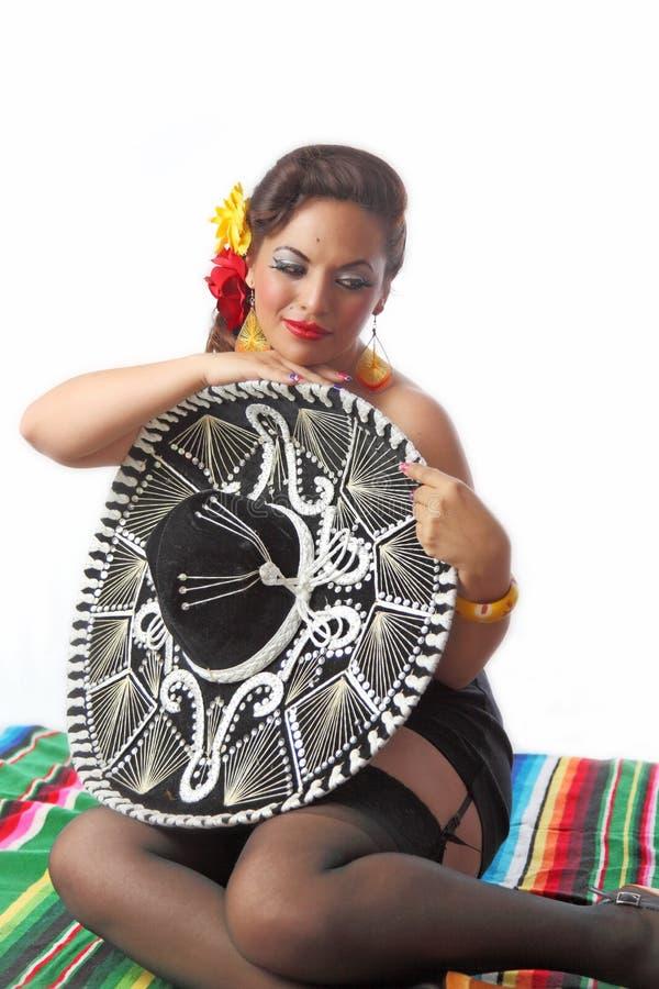Mexicano tímido 'sexy' Pin Up Girl foto de stock