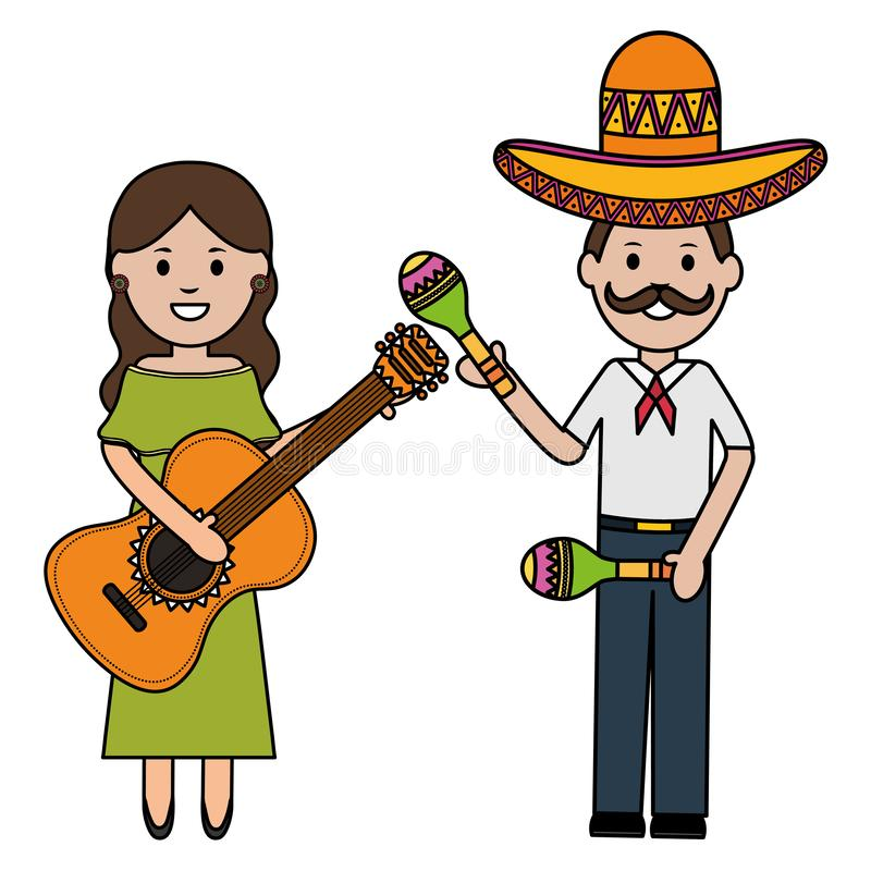 Mexicans couple with mariachi hat and instruments. Vector illustration design royalty free illustration
