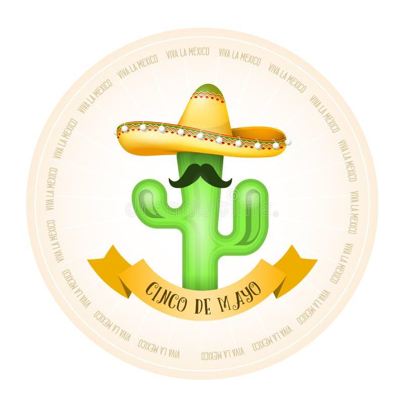 Mexicansk affisch - kaktus med mustaschen i sombrero stock illustrationer