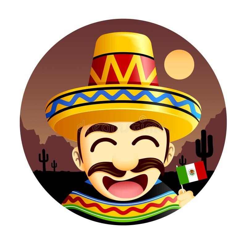 Mexicansk bärande sombrero stock illustrationer