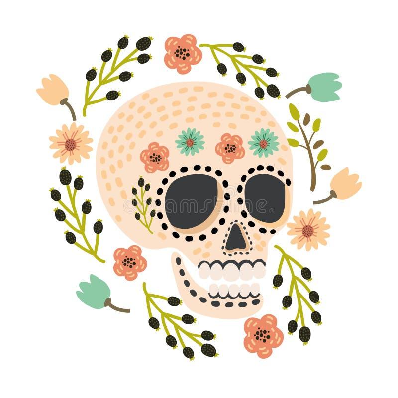 Mexicansk dag av de döda sockerskallarna Gullig och modern plan vektorillustration vektor illustrationer