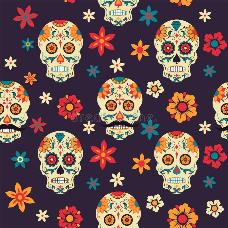 Mexicansk dag för festlig sömlös modell av döda med sockerskallen Blommor vektor illustrationer