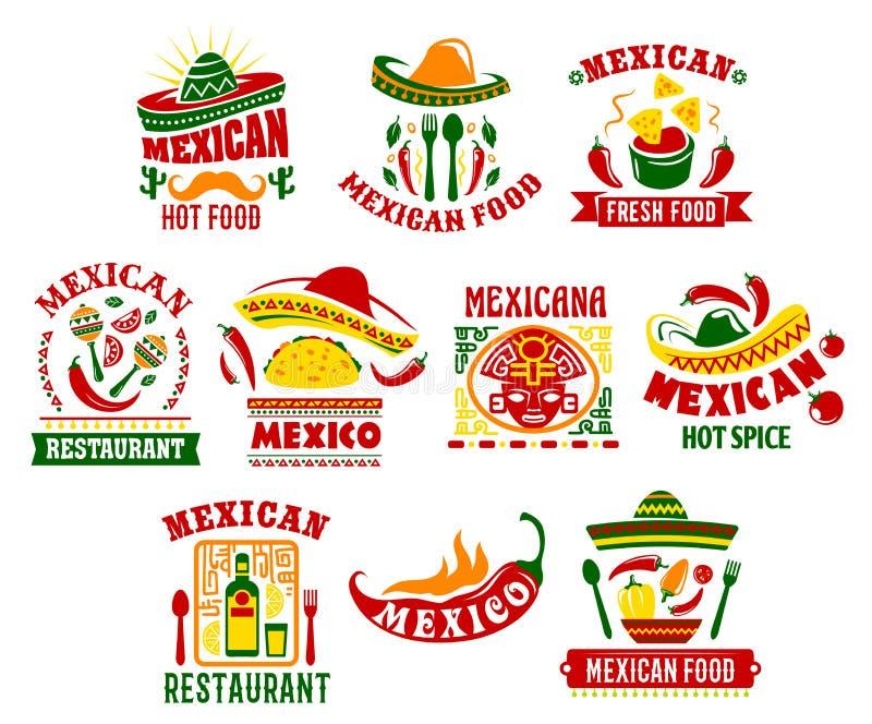 Mexicansk design för tecken för kokkonstsnabbmatrestaurang royaltyfri illustrationer