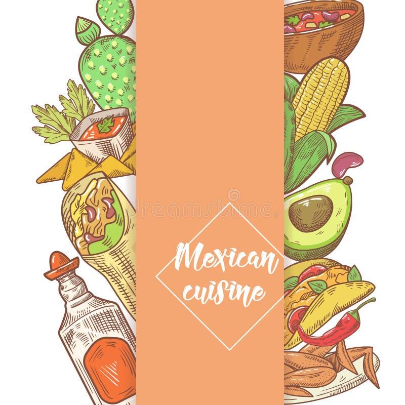 Mexicansk dragit klotter för mat hand Design för Mexico traditionell kokkonstmeny stock illustrationer