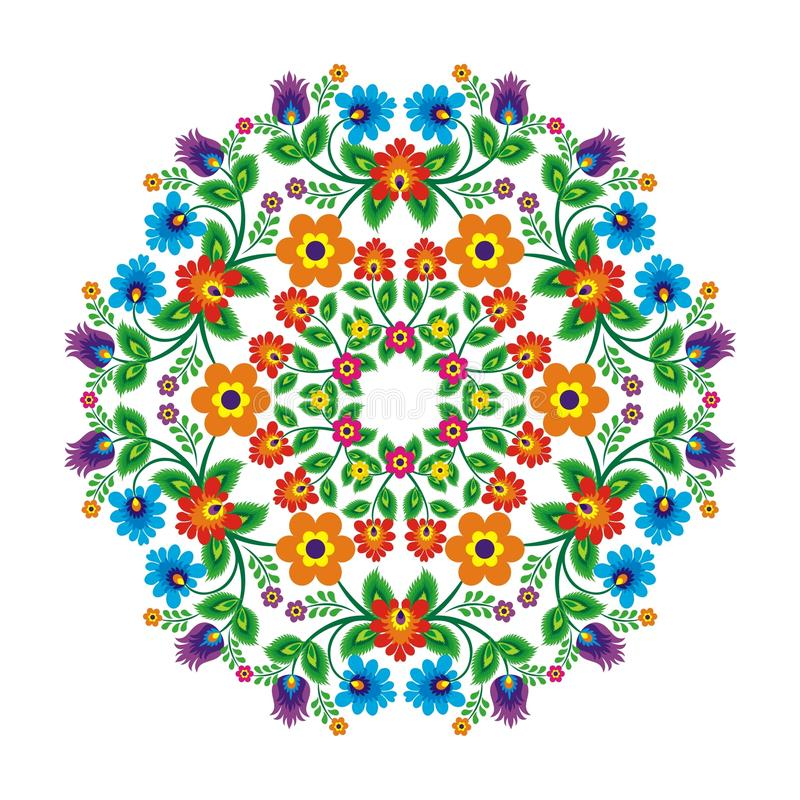 Mexicansk etnisk bevekelsegrund med den blom- modellen för cirkelstil royaltyfri illustrationer