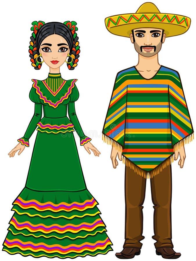Mexicansk familj i traditionell festlig kläder stock illustrationer