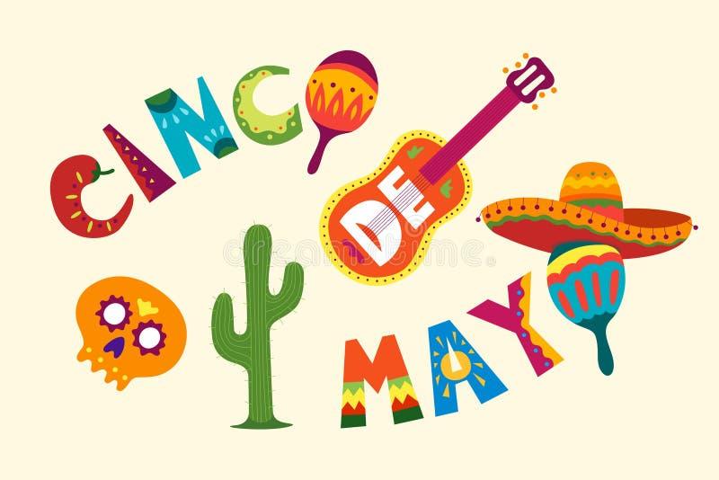 Mexicansk ferie 5 kan Cinco De Mayo Härlig vektorillustrati vektor illustrationer