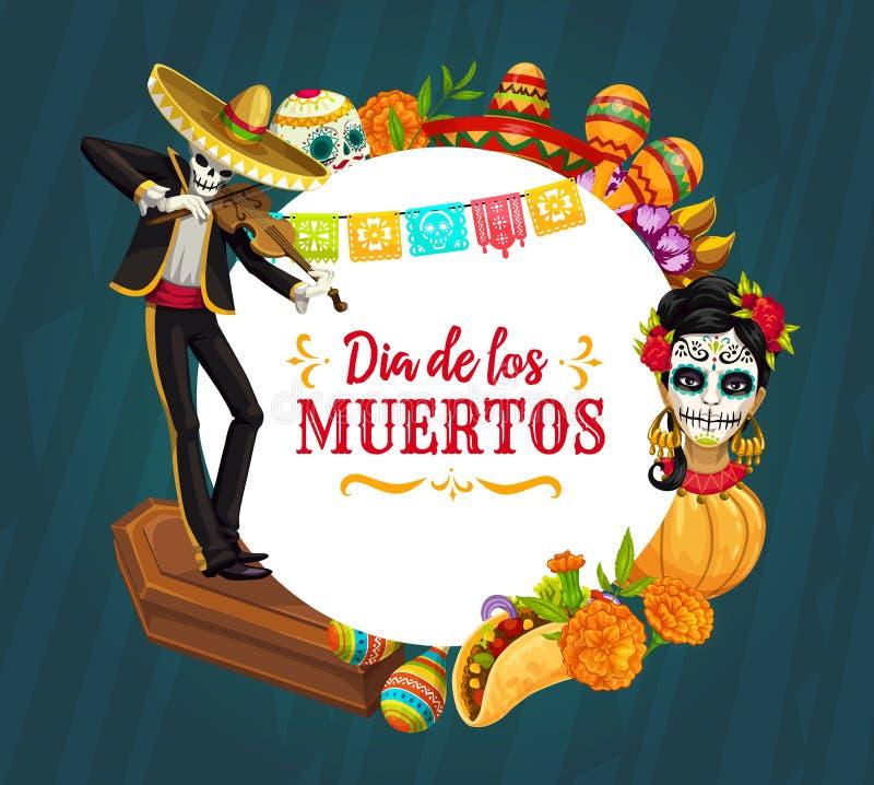 Mexicansk feriesockerskalle, skelett Dag av d?da stock illustrationer