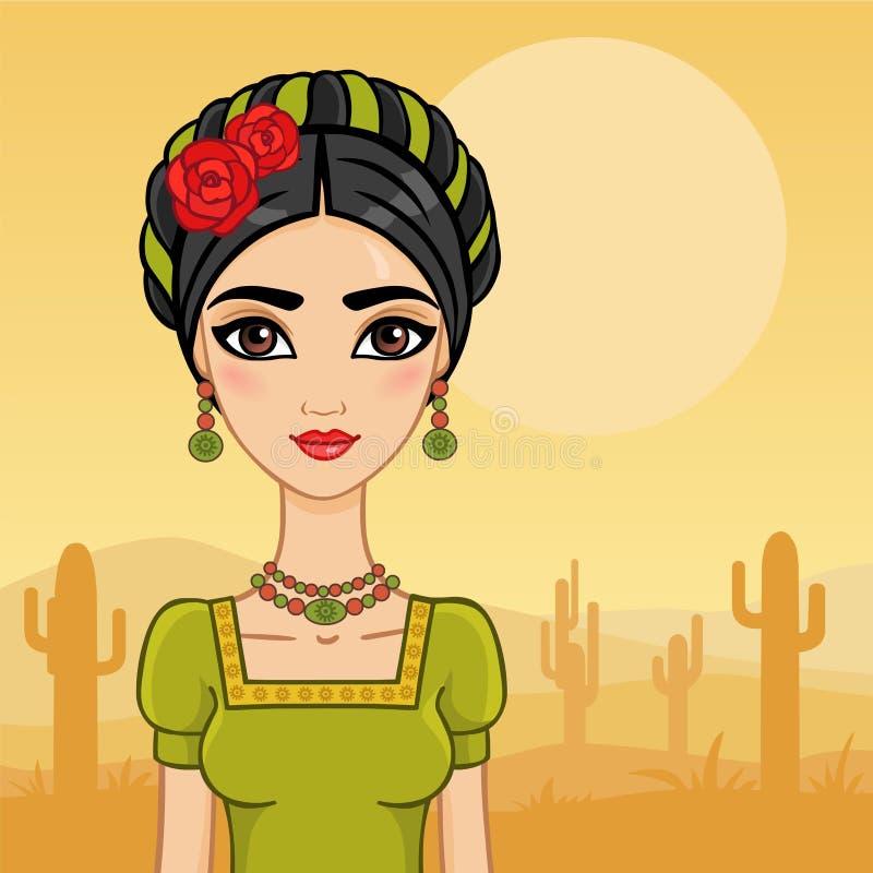 Mexicansk flicka royaltyfri illustrationer