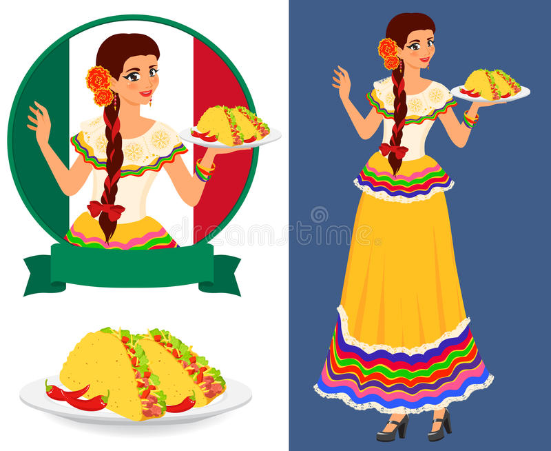Mexicansk flicka med taco stock illustrationer