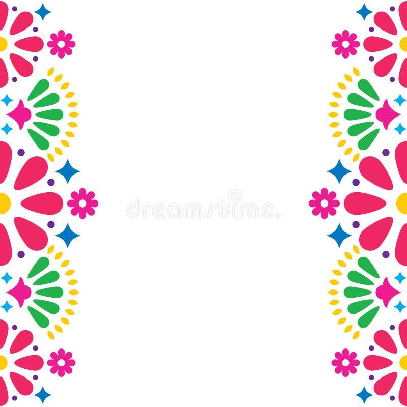 Mexicansk folk bröllop- eller partiinbjudan, hälsningkort, färgrik ramdesign med blommor royaltyfri illustrationer