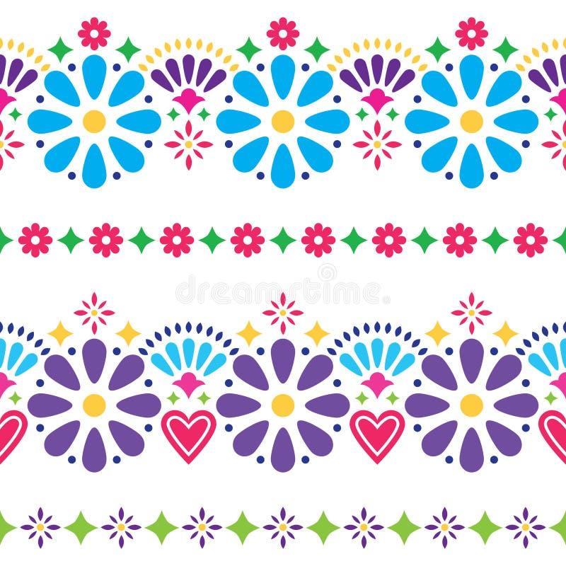 Mexicansk folk sömlös vektorbakgrund - färgrika långa designer med blommor royaltyfri illustrationer
