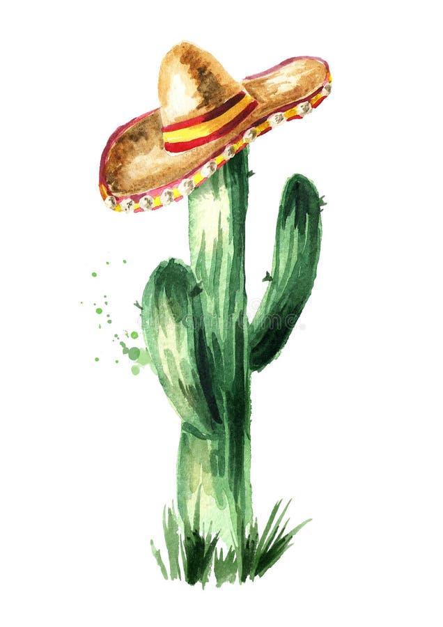 Mexicansk kaktus i sombrero Räcka den utdragna vattenfärgillustrationen som isoleras på vit bakgrund, vektor illustrationer
