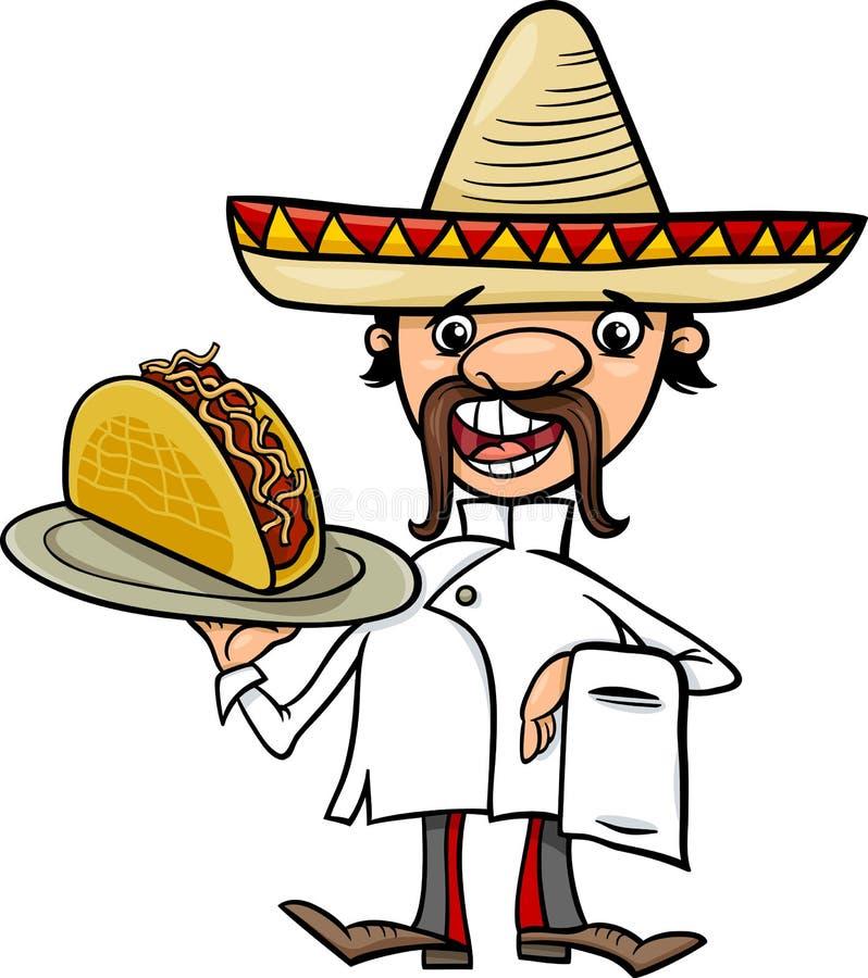 Mexicansk kock med tacotecknad filmillustrationen stock illustrationer