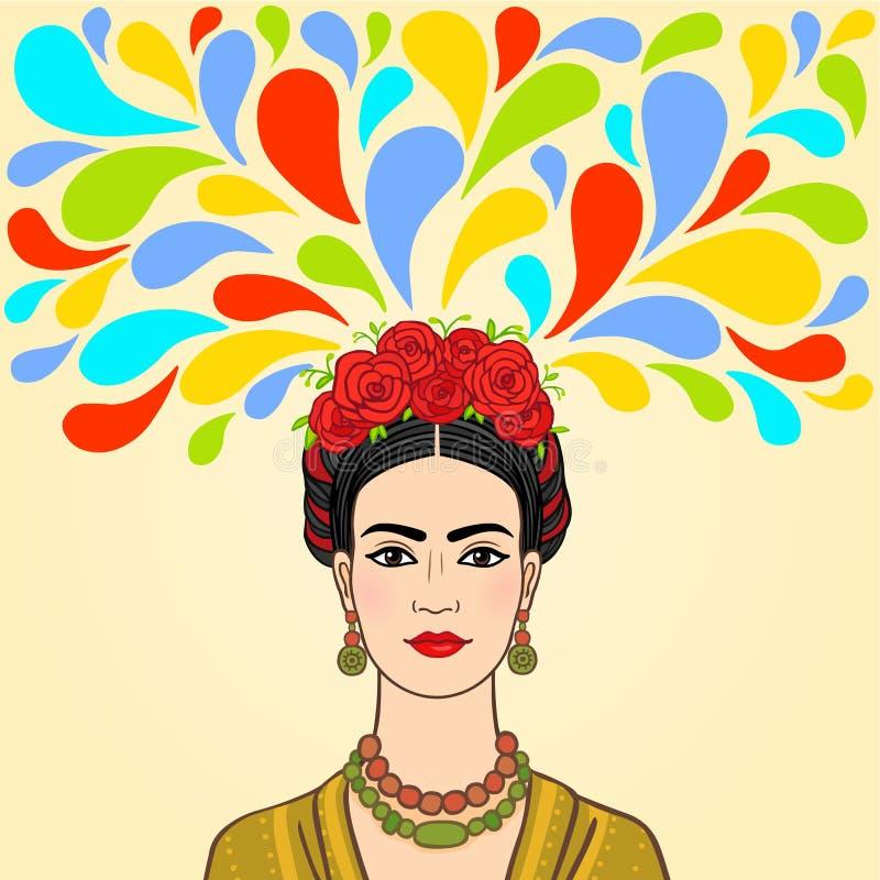 Mexicansk kvinna: fantasi royaltyfri illustrationer