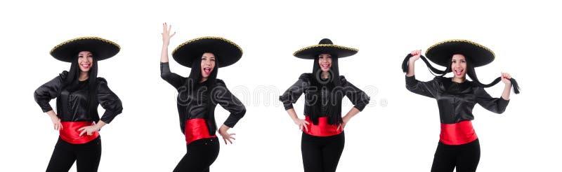 Mexicansk kvinna som isoleras p? den vita bakgrunden royaltyfri fotografi
