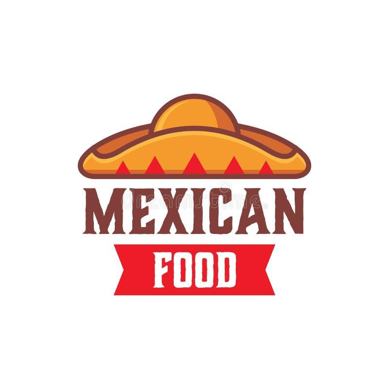 Mexicansk mall för matlogodesign med sombrerohatten stock illustrationer