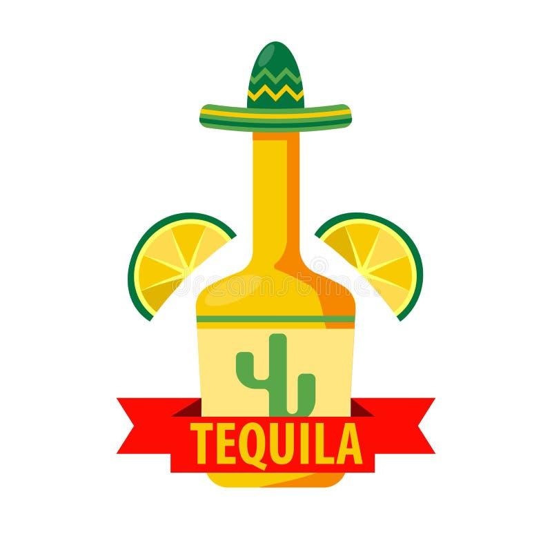 Mexicansk mall för symbol för tequilastångvektor av flaskan i sombrero royaltyfri illustrationer