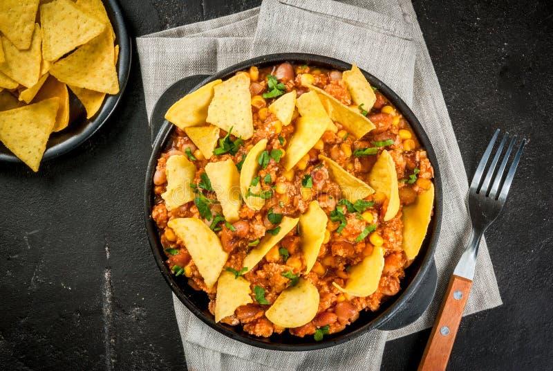Mexicansk mat, chili con carne fotografering för bildbyråer
