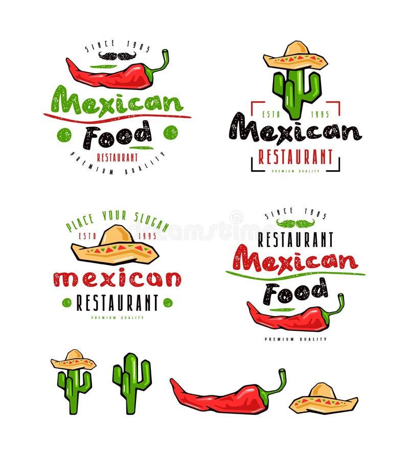 Mexicansk mat märker, emblem och designbeståndsdelar royaltyfri illustrationer