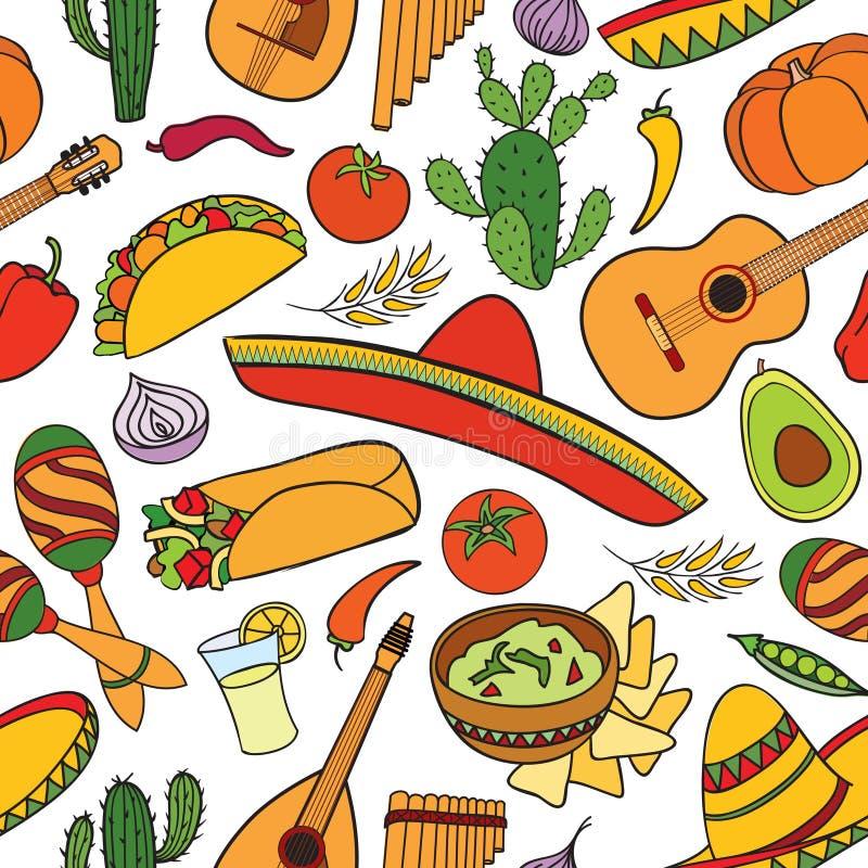 Mexicansk mat och sömlös modell för musikinstrument LoppMexico bakgrund vektor illustrationer