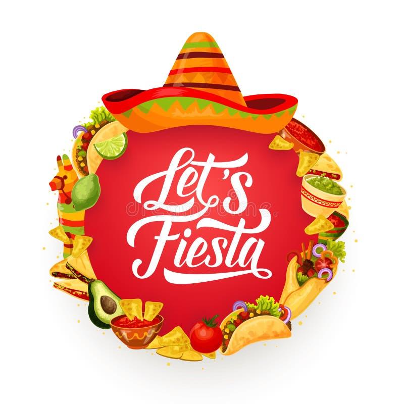 Mexicansk mat och sombrero Cinco de mayo Fiesta stock illustrationer