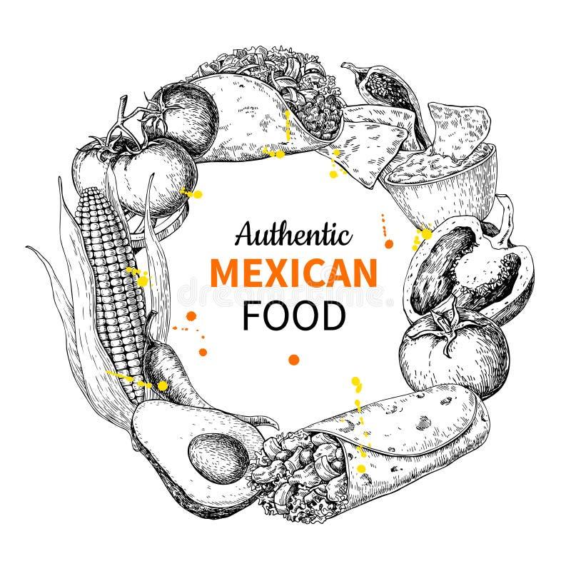 Mexicansk mat skissar etiketten i ram Traditionella kokkonster stock illustrationer