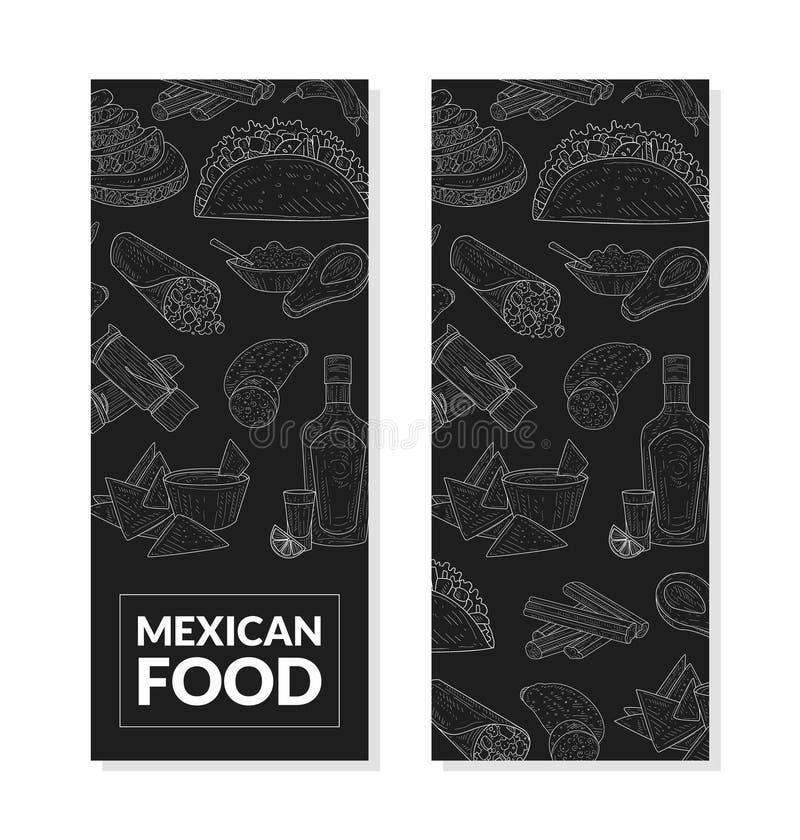 Mexicansk matbanermall med den utdragna modellen för hand, restaurangen eller beståndsdelen för kafémenydesign på svart tavlavekt vektor illustrationer