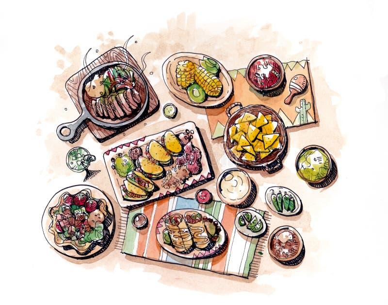 Mexicansk mathandteckning och akvarellmålningillustration royaltyfri illustrationer