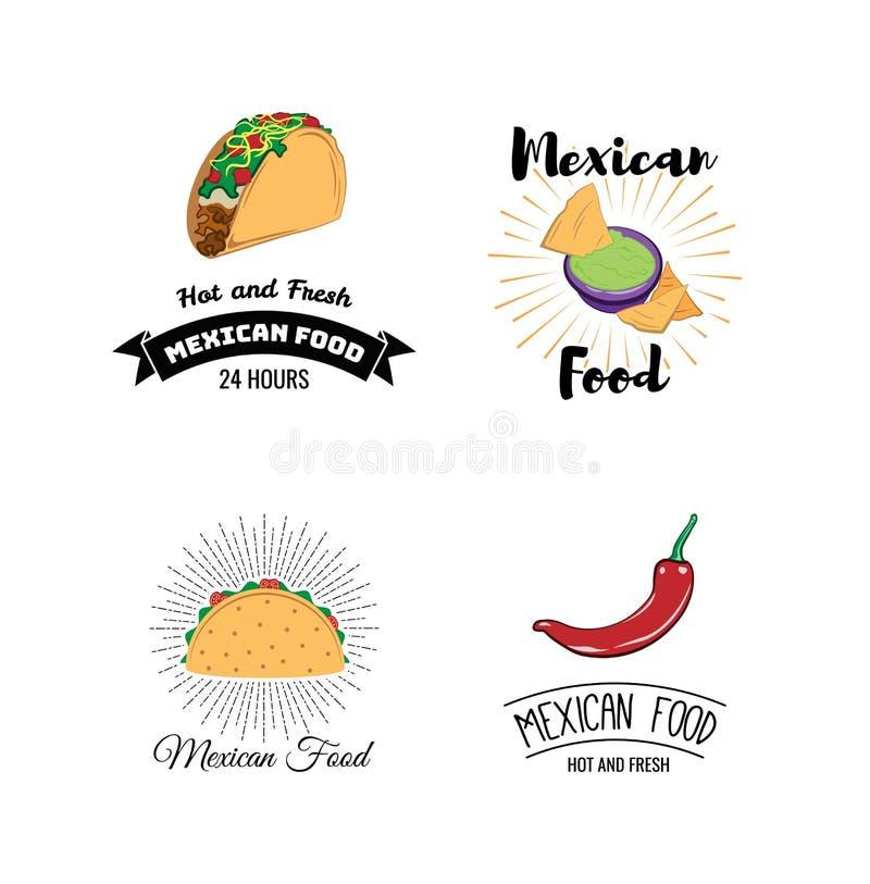 Mexicansk matmeny Mini Posters Set med traditionellt kryddigt mål också vektor för coreldrawillustration royaltyfri illustrationer