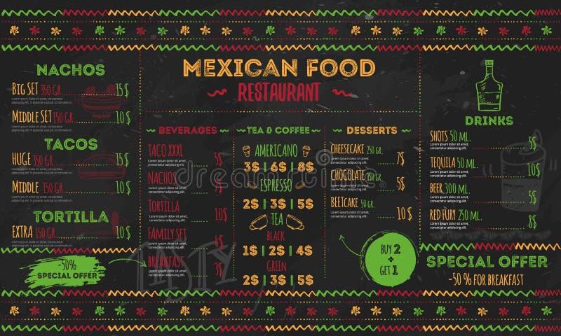 Mexicansk matrestaurangmeny, malldesign reklamblad för befordran, platsbaner vektor illustrationer