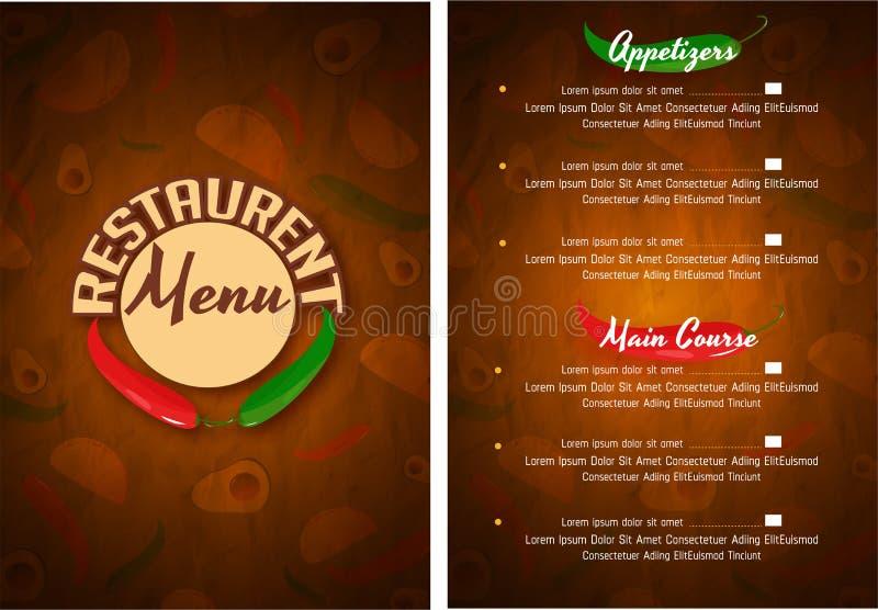 Mexicansk meny för restaurang och kafé stock illustrationer