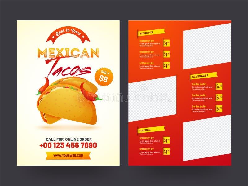 Mexicansk meny för restaurang och kafé vektor illustrationer