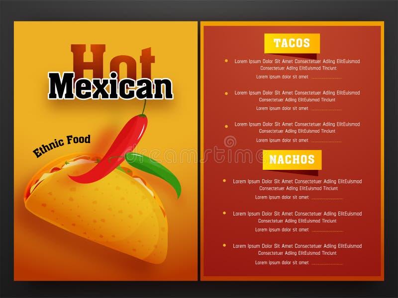 Mexicansk meny för restaurang och kafé royaltyfri illustrationer