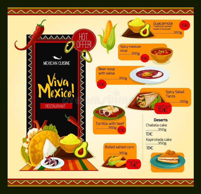 Mexicansk menyvektormall för restaurang vektor illustrationer