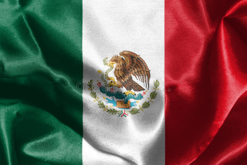 Mexicansk nationsflagga med den Eagle Coat Of Arms 3D tolkningen vektor illustrationer