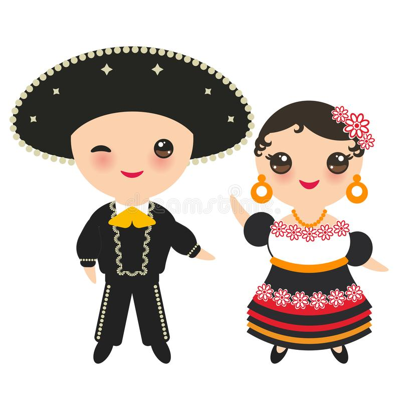 Mexicansk pojke och flicka i nationell dräkt och hatt Tecknad filmbarn i den traditionella Mexico klänningen bakgrund isolerad wh royaltyfri illustrationer