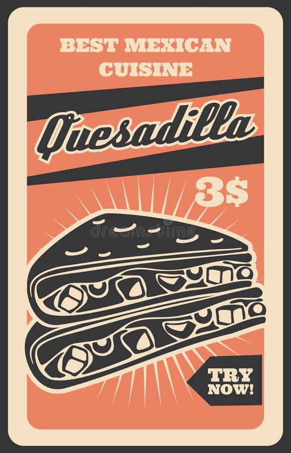 Mexicansk quesadilla, nationell kokkonstmat royaltyfri illustrationer