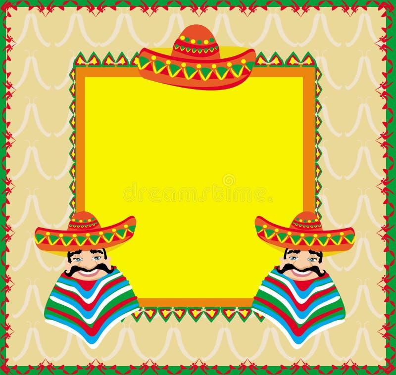 Mexicansk ram med mannen i sombrero royaltyfri illustrationer